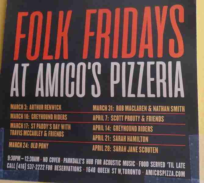 Amicos Pizza Italian Restaurant - Folk Fridays at Amico's Pizza