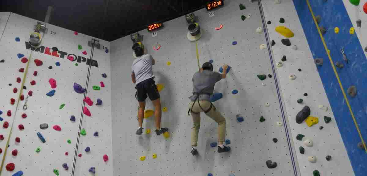 speed climb up the wall in eleven seconds at Hub Climbing
