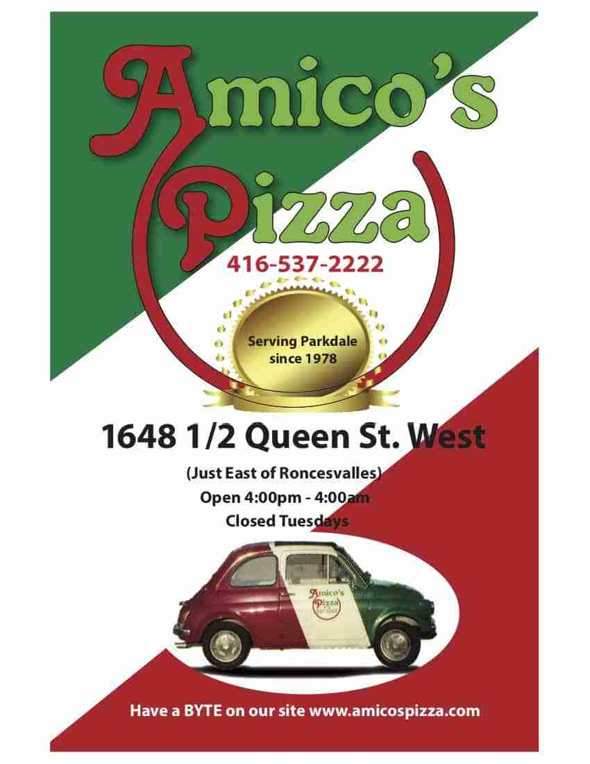 Amico's Pizza Takeout Menu page 1